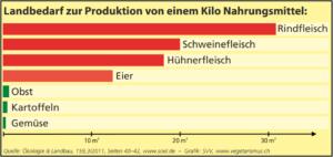 Landbedarf Produktion Fleisch vs. Gemüse